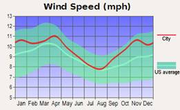 Line graph showing wind speed in miles per hour